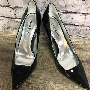 Bebe black patent leather heels pumps Sz 8.5